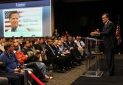 Romney touched on pro-business themes as he spoke to potential donors at Microsoft Thursday.
