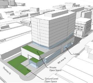Vulcan's latest prposed office project in South Lake Union would have open space at the south end of the project.