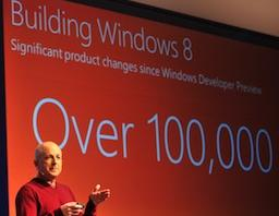 Steven Sinofsky, president of Windows and Windows Live Division, talks about Windows 8 at the Windows 8 Consumer Preview event in Barcelona, Spain last month.