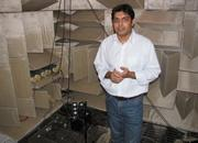 Chandra in the anechoic chamber where Microsoft is testing the effects of white spaces transmissions on wireless mics.