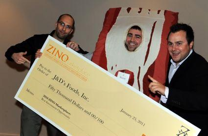 Dave Lefkow, left, Bacon and Justin Esch accept their check from the Zino Society. Photo via Dave Block at Team Photogenic