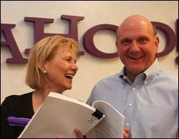 Carol Bartz and Steve Ballmer. (Yahoo photo via flickr)