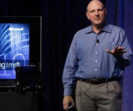 Ballmer during yesterday's meeting. (Microsoft photo)