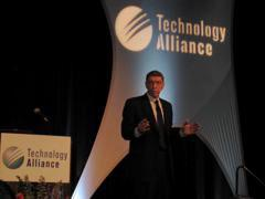 Clayton Christensen at the Technology Alliance annual luncheon in downtown Seattle.