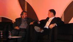 Michael Dell, right, chats with Mark Anderson at the FiReGlobal conference in Seattle.