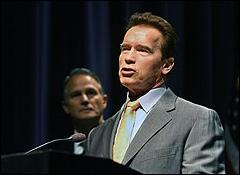 Schwarzenegger and Microsoft's Dan'l Lewin in California today. (Microsoft photo)