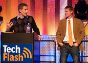 "Media sponsor Matt Marshall of VentureBeat, left, presents the ""No Longer Stealth Award."""