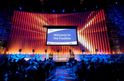 The Experience Music Project in the blue-orange color scheme of TechFlash.