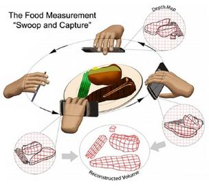 "The Dietary Data Recorder System uses 3D modeling to estimate food volume, analyzing user-recorded videos that are obtained with a simple ""swooping"" motion"