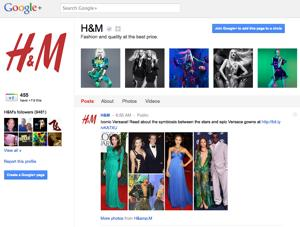 Google + page for retailer H&M.