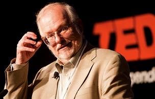 Noted science fiction writer Greg Bear at TEDx Seattle. Photo by Stephen Brashear,  courtesy University of Wash. MCDM