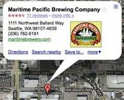The correct location for Maritime Pacific's Jolly Roger Taproom in Google Maps.