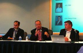 Rob Glaser, center, speaks at the Mobile Future Forward conference in Seattle. Photo/David Geller