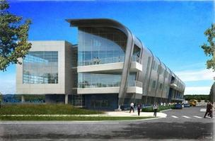 An artist's rendering of the new Aviation High School to be located adjacent to the Museum of Flight.