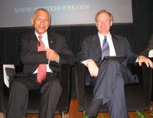 Microsoft's Brad Smith (right), joined NASA Administrator Charles Bolden and other Seattle-area business leaders in a Friday forum organized by the Business Higher Education Forum