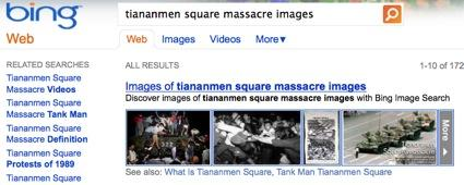 Under Chinese government censorship rules, a Bing search for Tiananmen Square might not reveal the 1989 massacre