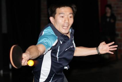 Valeri Kim, representing Akvelon, once again defended his TechFlash title in 2011 in the expert ping-pong division. (PSBJ photo/Marcus Donner)