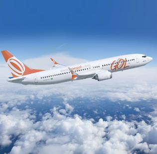 A Boeing 737 Max, powered by CFM International's LEAP-1B engines. GOL Airlines ordered 60 airplanes.