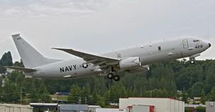 A Boeing P-8A takes off from Boeing Field in Seattle.