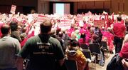This is one of two huge rooms at the Washington  state Convention Center that were packed with people Thursday night at a hearing discussing a plan to export coal to China  from a Whatcom County port that would use coal trains traveling through  Puget Sound.