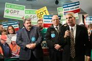 Linden  mayor Scott Korthuis speaks during a pro-Gateway Pacific Terminal  demonstration at the Washington Convention Center in Seattle Thursday.
