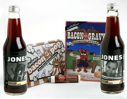 Jones Soda and J&D Foods are selling this package that includes two bottles of Jones Bacon Soda, one tube of Bacon Lip Balm, one package of Bacon Popcorn and one package of Bacon Gravy Mix.