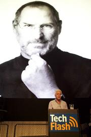 Mike Slade of Second Avenue Partners speaks about experiences with Steve Jobs during a tribute to the late Apple CEO.