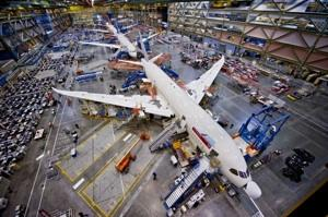 A file photo of Boeing's 787 Dreamliner assembly line in Everett, Wash. U.S. factory growth has slowed to its level in 11 months.