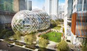 Park space would border a spherical building planned for Amazon's new campus in downtown Seattle.