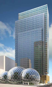 Amazon's planned round building would sit at the base of a high-rise on its new downtown Seattle campus.