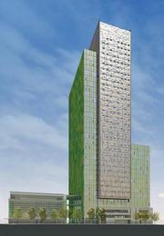 Amazon's proposal for its campus in Seattle's Denny Triangle includes yellow accent trim and green metal panels, with green the primary color on one side of the high-rise. Windows that open and close would be integrated into the tower facade. This is the view along Sixth Avenue.