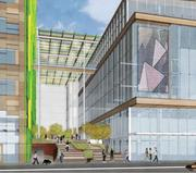 Amazon's plans for its campus in Seattle's Denny Triangle include a meeting center, right.