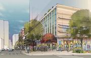 """Amazon's plans for its Denny Triangle campus include a """"green street"""" on Blanchard designed to emphasize pedestrian circulation and open space"""