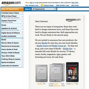 CEO Jeff Bezos stresses value in this letter to customers posted on Amazon's home page to announced the Kindle Fire launch.