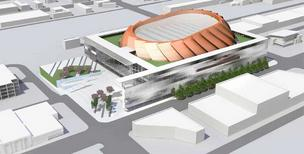 This shows the latest design of the Seattle pro basketball and hockey arena. The view is from the northwest.