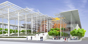 The main entry of the proposed Seattle arena would have a covered plaza.