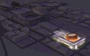 An aerial view shows the proposed Seattle arena with Safeco and CenturyLink fields in the background.
