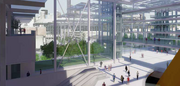 The view toward downtown from the upper concourse of the proposed Seattle arena.