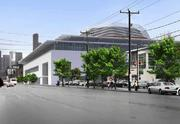 An image of the planned Seattle sports arena on First Avenue looking north.
