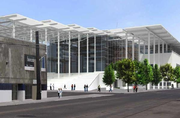 An image of the planned Seattle sports arena on First Avenue looking south.