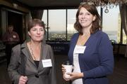 Susan  Johnson, left, and Stephanie Meier, both of Stoel Rives LLP, during a Business Journal Live event at the Harbor Club in Bellevue on Friday.