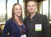Lacey  Boek, left, of Southern Wine and Spirits, and Eric Cozens of RSI during a  Business Journal Live event at the Harbor Club in Bellevue on Friday.
