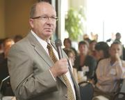 Terry Pickering of American West Bank during a Business Journal Live event at the Harbor Club in Bellevue on Friday