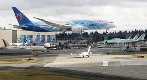 A Boeing 787 Dreamliner arrived at Everett's Paine Field on Thursday
