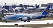A Boeing 787 Dreamliner arrives at Paine Field in Everett after flying from Fort Worth, Texas.