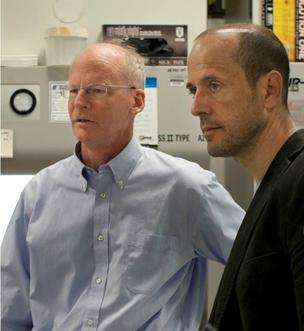 "Dr. David Rawlings, left, and Dr. Andrew Scharenberg of Seattle Children's Research Institute are working on gene research on SCID, or ""bubble boy disease,"" that is being funded by a NIH grant."