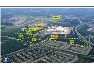 An aerial view of Boeing's site in South Carolina and the property lines of the planned purchase.