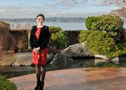 Broker Jessica Xu of Realogics Sotheby's International Realty on the grounds of a $4.3 million home in Kirkland that she's marketing to buyers in China. The gardens were designed by R. David Adams.