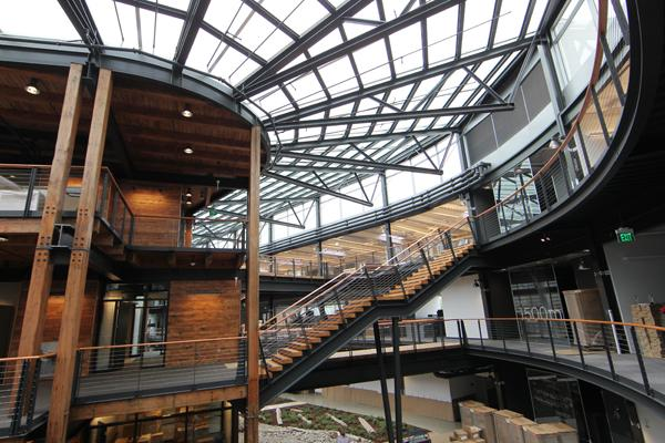 The interior of Seattle's new Federal Center South building was designed to allow workers can get to other parts of the building very quickly.