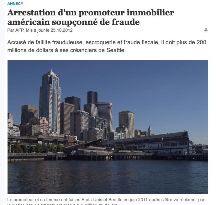 The Tribune de Geneve included a prominent photo of the Seattle waterfront with its story on the arrest of Michael and Linda Mastro.